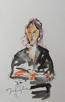 JOSE TRUJILLO ORIGINAL Watercolor Painting ABSTRACT Expressionist Portrait Woman