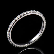 0.54CT Full Eternity Natural Diamond Engagement Ring Solid 18K White Gold