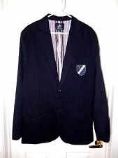 Ai Authentic Icon Blazer Sport Coat- L, dark navy pinstripe