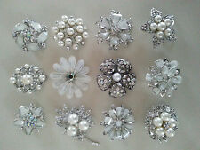 12 wholesale lot PEARL & WHITE PINS BROOCHES Wedding Bouquet Crytal BLING