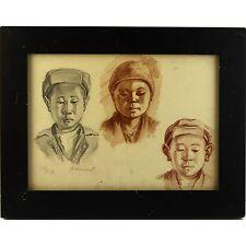 ORIGINALE incorniciato ucraino SOCIALE realista ritratti 3 bambini cinesi Mongolo
