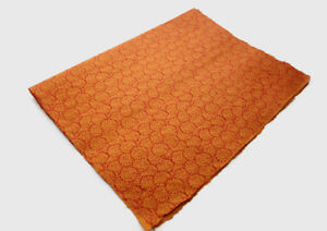 Orange with Red Flower Printed Handmade Gift Wrapping Lokta Paper Sheets