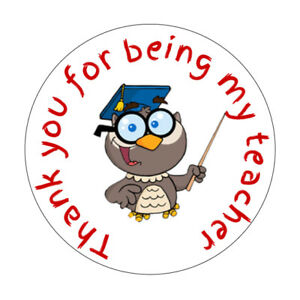 Owl Thank You For Being My Teacher Round Stickers Labels
