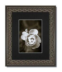 8X10 Vintage Ornate Black Frame, Glass & Single Black Mat for 5x7