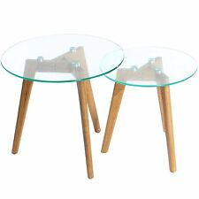 Nest of 2 Round Coffee Side Tables Solid Oak Wood Legs Glass Top Furniture Pair