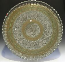 Antique islamic / middle eastern copper tray. 19th century, 78cm diameter
