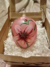 """New listing Handmade & Painted Impuls Pink Floral Blown Art Glass Christmas Ornament 5.75"""""""
