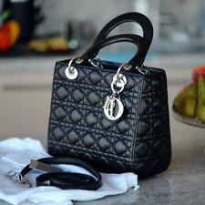 CHRISTIAN DIOR Classic Lady Dior Medium black ladies tote bag purse calfskin