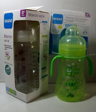MAM Bottle Glass + 0 Month & Bottle Transition + 4 Month Lot 2 Baby Bottles New