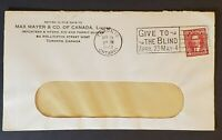 1940 Toronto Canada Give to the Blind Cancel Mayer & Company Advertising Cover
