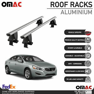 Silver Smooth Top Roof Rack Crossbar Luggage Carrier Alu For Volvo S60 2011-2018
