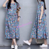 Women Long Dress Baggy Beach High Waist Short Sleeve Cotton Linen Floral Fashion