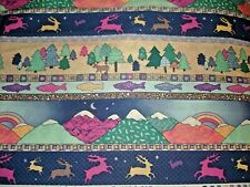 2+ Yds 100% Cotton Pine Brook Fabric by Jean Wells - Mountains, Trees, Fish
