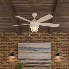 5-Blade Outdoor Indoor 52 Lighthouse Ceiling Fan Patio Beach Caged Globe Light