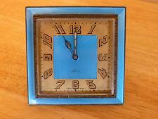 Art Deco IOCO 15 jewels Swiss Made Sky Blue Guilloche Enamel Desk Clock