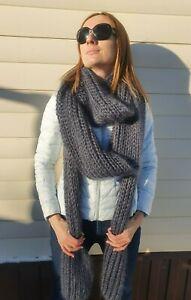 Premium Mohair MEGA Long Scarf 380 cm Hand knitting Gray Jane Rodas