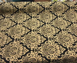 Chenille Damask Print Black Gold Cleopatra Upholstery Fabric By The Yard