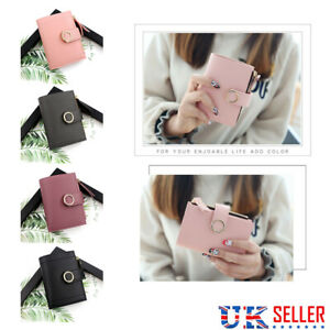 Women's Short Small Money Purse Wallet Ladies Leather Folding Coin Card Holder W