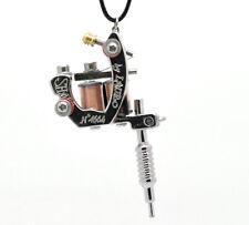1PC Silver Tone Mini Tattoo Machine Necklace Pendants DIY Crafts 45cm Hot Sale