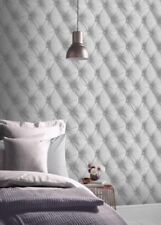 Silver Headboard Effect Wallpaper Cushioned Faux Leather Luxury Modern Arthouse