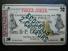 c.1900 Paris Poker Joker Playing Cards GRIMAUD France 53/53 RARE unsealed MINT