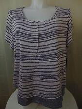ING Plus Size Short Sleeve Striped Top White & Indigo 3X Cotton Blend #2190