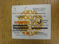 05/10/1976 Ticket: Wolverhampton Wanderers v Southampton (Complete). This item h