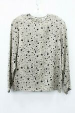 Anne Klein II Vintage Gray 100% Silk Feather Print Long Sleeve Blouse Size 8