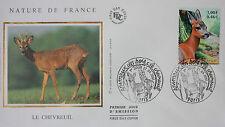 ENVELOPPE PREMIER JOUR - 9 x 16,5 cm - ANNEE 2001 - LE CHEVREUIL