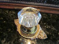 ANTIQUE DOOR HARDWARE: SOLID BRONZE BACK PLATE w/ 8 POINT CRYSTAL KNOB