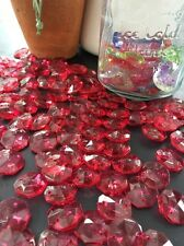 50 Large 17mm Chandelier Crystals Acrylic Red Wedding Crafts Octogan Drop
