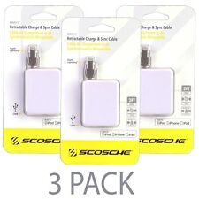 (3-Pack) 3' Scosche boltBOX MFI Lightning Retractable Charge & Sync