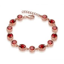 AAA Red Ruby TGW 18ct White or Rose Gold on 925 Sterling Silver Tennis Bracelet