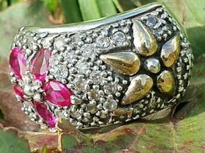 Sterling Silver and  Gold Ring    Ring ,SAME DAY SHIPPING !