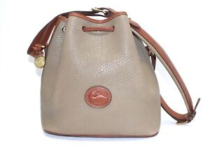 Vintage Dooney & Bourke Small Taupe/BTan Leather Drawstring Bucket Bag USA