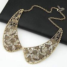 Vintage Fashion Design Bronze Metal Hollow Out Flower Choker Collar Bib Necklace