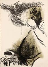 Carlo MATTIOLI Ritratto di Renato Guttuso 1964 rara litografia originale firmata