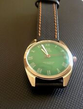MAGNIFICENT VINTAGE STYLE GREEN FACE MENS WATCH