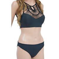 Womens Strappy High-Neck Bikini Swimsuit Bathing Suit Swimwear Beachwear UT8319