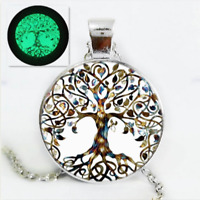 Living Tree of Life Glow In The Dark Cabochon Glass Chain Pendant Necklace