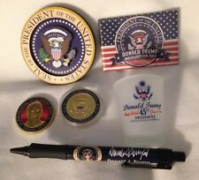 5 TRUMP = PEN EAGLE SEAL GLASS INAUGURATION MAGNET COIN PRESIDENT DONALD VP FIVE