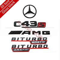 Gloss Black Badge Emblem C43S/AMG/BITURBO/Rear Star Set for Mercedes-Benz W205