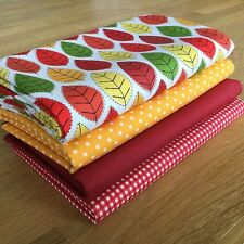 AUTUMN Fat Quarter Bundle {1} 100% cotton ~ season, leaf, red, yellow fabrics