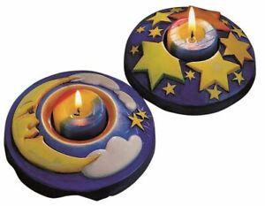 Giessform Teelicht Mond & Sterne Formen zum selber gießen und bemalen Bastelform