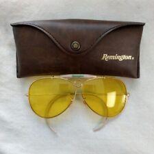 Vtg Remington Shooting Glasses Aviator Yellow Lens 63mm w/ Orig Case Nice Cond
