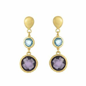 Silverly Gold Plated .925 Sterling Silver Brushed Gem Dangle Earrings