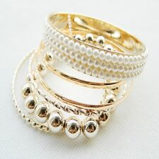 pearl beads multilayer woman bangle bracelet New jewelry hot fashion 1set golden