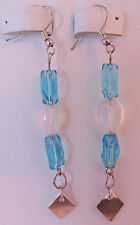 NWOT Unique Sky Blue, Opalite, Silver Diamond Drop Earrings, Sterling Silver