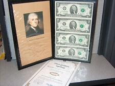 Genuine UNCUT sheet of Two Dollar bills BU Uncirculated New
