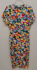 Vintage 1980-90s Womens Xs Multicolor Floral Rayon Short Sleeve Dress